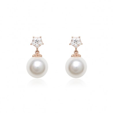 STAR PENTAGON PEARL EARRINGS